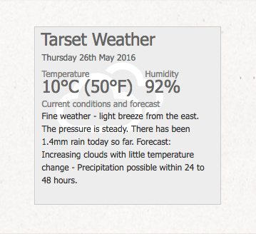 Screenshot of the 2015 weather information panel for the updated Tarset website